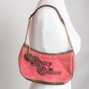 Juicy Couture Pink and Brown Clutch with chain